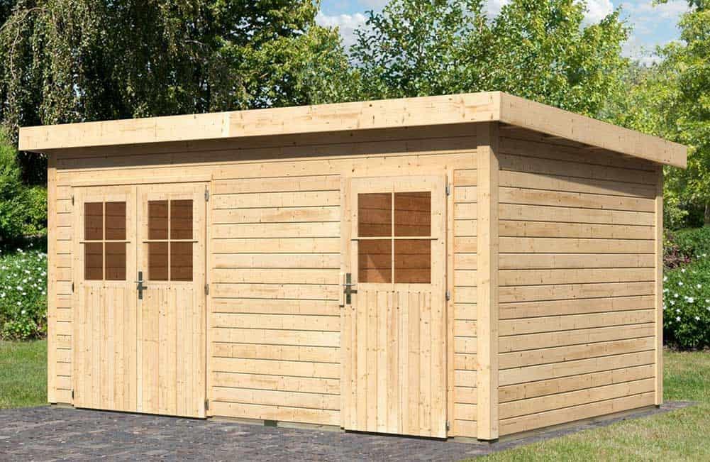 Carports gartenh user spielger te mit montage service for Holz doppeltur gartenhaus
