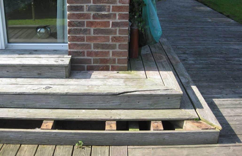 Holz-Stufen Reparatur vorher